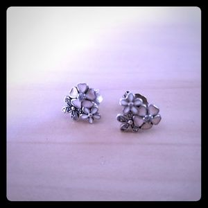 Authentic Pandora Flower Earings, Silver, Enamel